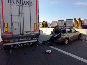 Dálnice D1 opět stála kvůli nehodě tří aut. Pravděpodobnou příčinou byla nepozornost řidiče