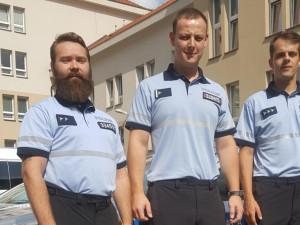 Trojice oceněných policistů, zleva – Dominik Leško, Miloslav Hladík a Pavel Vlček.