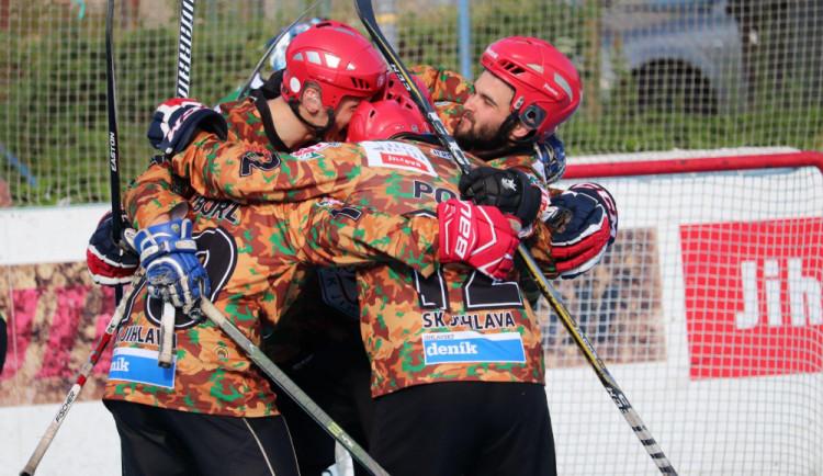 SK Jihlava vyhrála také potřetí a je v čele v první hokejbalové ligy