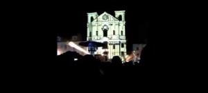Videomapping na kostele sv. Ignáce na akci Bosch svařák